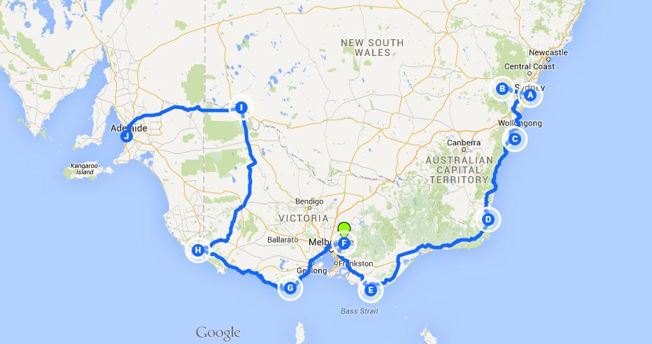 Oliver Trips en Australie, l′itinéraire